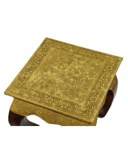 Odkládací stoleček z mangového dřeva, mosazné kování, 20x20x20cm