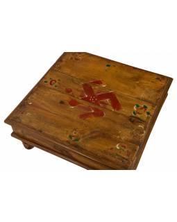 Starý čajový stolek z teakového dřeva, 34x34x15cm