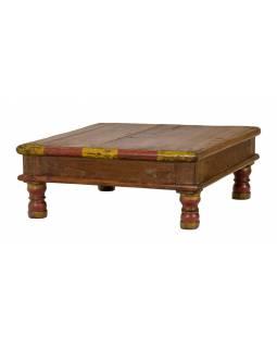 Starý čajový stolek z teakového dřeva, 43x43x16cm