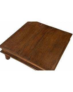 Starý čajový stolek z teakového dřeva, 40x40x17cm
