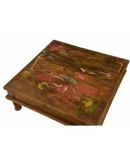 Starý čajový stolek z teakového dřeva, 41x42x16cm