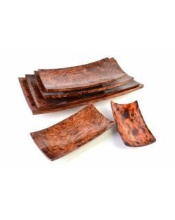 Sada 6 ks mís z palmového dřeva, 45x22cm