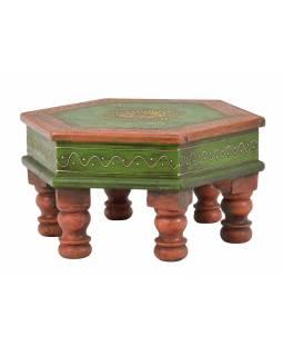 Čajový stolek, malovaný, šestiboký, oranžovo-zelený, starý teak, 33x33x17cm