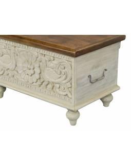 Truhla z mangového dřeva, ručně vyřezávaná, bílá úprava, 58x35x35cm
