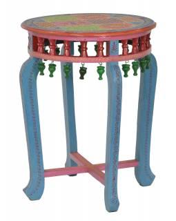 Stolek z mangového dřeva, ručně malovaný, 50x50x59cm
