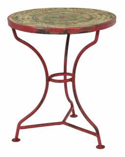 Kovový stolek na třech nožkách, ručně malovaný, 40x40x46cm