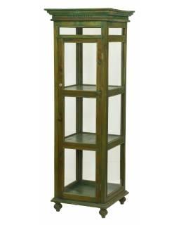 Velká prosklená skříň z teakového dřeva, 62x62x180cm
