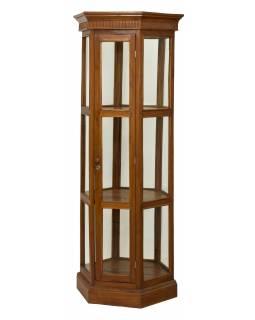 Velká prosklená skříň z teakového dřeva, 80x70x198cm