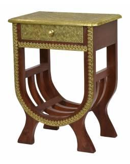 Noční stolek z mangového dřeva, mosazné kování, 47x30x60cm