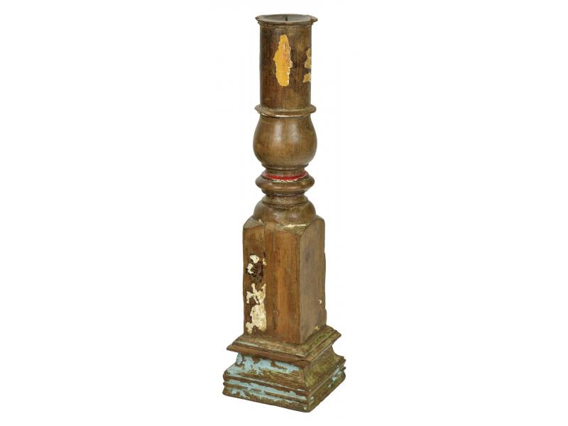 Dřevěný svícen ze starého teakového sloupu, 15x15x60cm