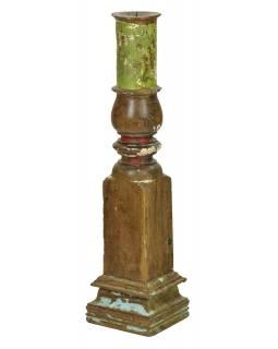 Dřevěný svícen ze starého teakového sloupu, 15x15x62cm