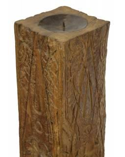 Dřevěný svícen ze starého teakového sloupu, 13x13x59cm
