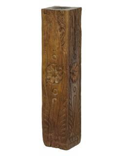 Dřevěný svícen ze starého teakového sloupu, 13x13x60cm