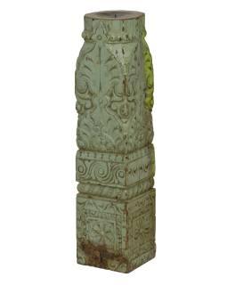 Dřevěný svícen ze starého teakového sloupu, 13x13x57cm