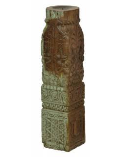 Dřevěný svícen ze starého teakového sloupu, 13x13x58cm