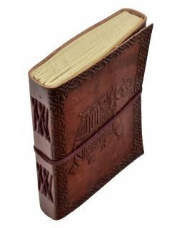 Notes v kožené vazbě, ruční papír, Slon, keltský znak, cca 12,5x17,5cm
