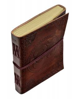 Notes v kožené vazbě, ruční papír, Óm, keltský znak, 15x20cm