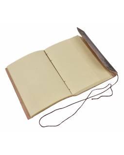 Notes v kožené vazbě, ruční papír, Óm, květ života, cca 18x25,5cm