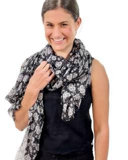 Šátek z viskózy, černý, potisk světle šedých květin a teček, 108x176cm