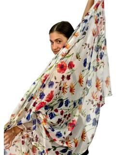 Šátek z viskózy, bílý s potiskem lučních květin, 110x172cm