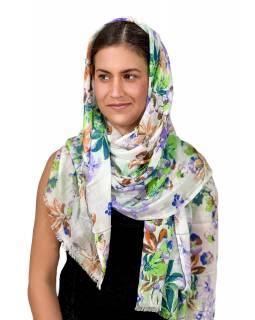 Šátek z viskózy, bílý s veselým potiskem barevných květin, 70x180cm