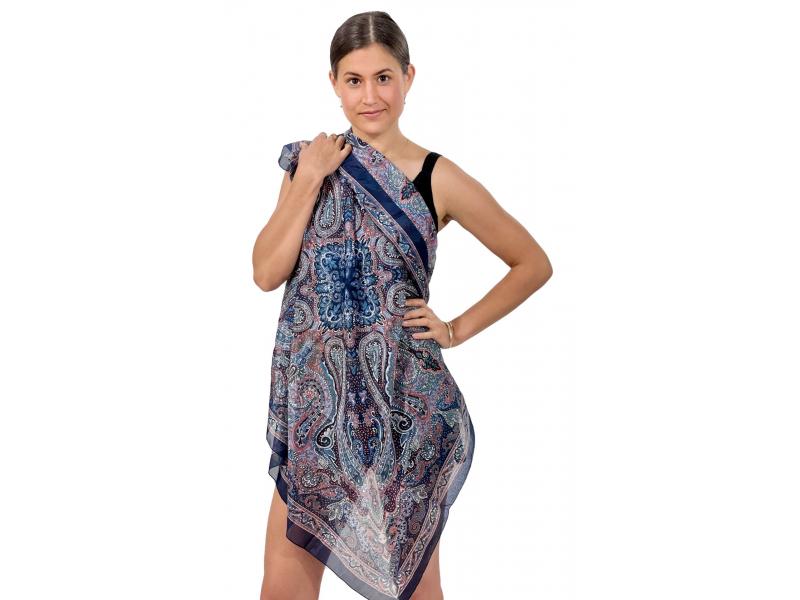 Šátek z umělého indického hedvábí, šedo-modrý, paisley potisk 100x100cm