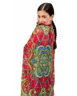 Šátek z umělého indického hedvábí, červeno-zelený, paisley potisk 100x100cm
