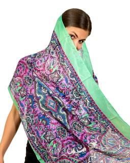 Šátek z umělého indického hedvábí, zeleno-fialový, potisk slonů 50x180cm