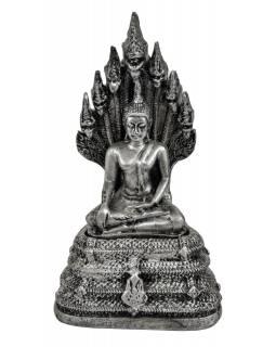 Narozeninový Buddha, sobota, stříbrná patina, 20cm