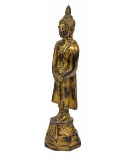 Narozeninový Buddha, neděle, pryskyřice, zlatá patina, 30cm