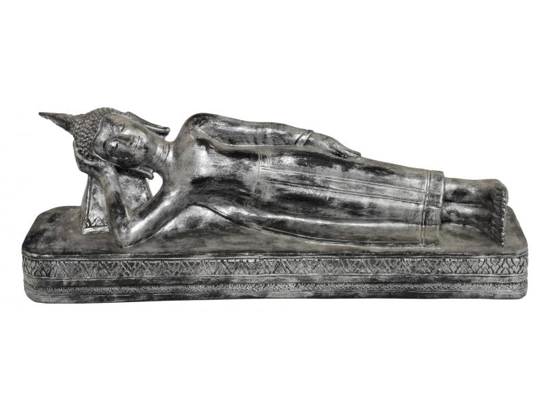 Narozeninový Buddha, úterý,  pryskyřice, stříbrná patina, 50cm