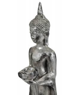 Narozeninový Buddha, středa,  pryskyřice, stříbrná patina, 50cm