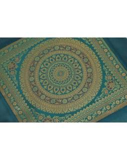 Povlak na polštář, saténový s mandalou, smaragdový, zlatá výšivka, 40x40cm