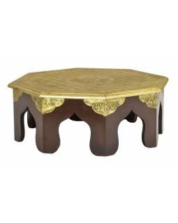 Čajový stolek z mangového dřeva zdobený mosazným kováním, 40x40x15cm