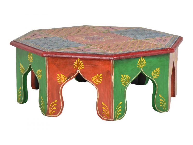 Čajový stolek z mangového dřeva ručně malovaný, 40x40x15cm