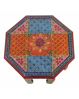 Čajový stolek z mangového dřeva ručně malovaný, 30x30x15cm