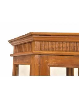 Velká prosklená skříň z teakového dřeva, 67x59x180cm