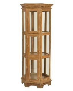 Velká prosklená skříň z teakového dřeva, 76x63x181cm