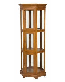 Velká prosklená skříň z teakového dřeva, 72x63x175cm