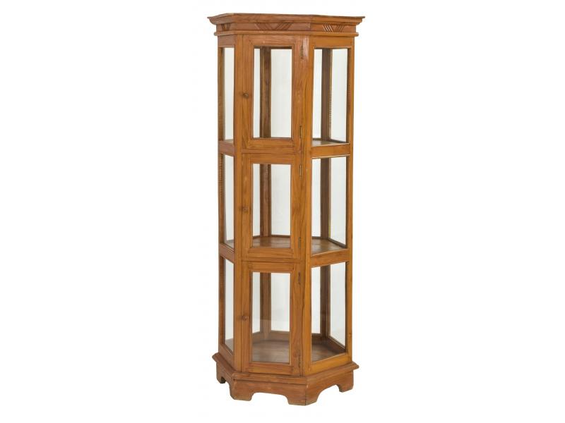 Velká prosklená skříň z teakového dřeva, 77x67x180cm