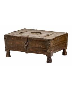 Stará truhlička z teakového dřeva, 40x30x18cm