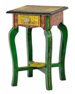 Stolička z mangového dřeva se šuplíkem, ručně malovaná, 28x28x45cm