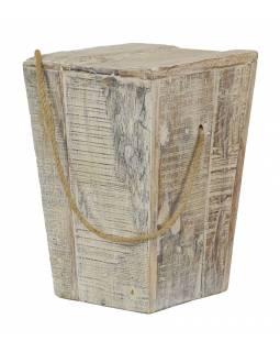 Stolička z teakového dřeva, madlo z provazu, bílá patina, 30x30x43cm
