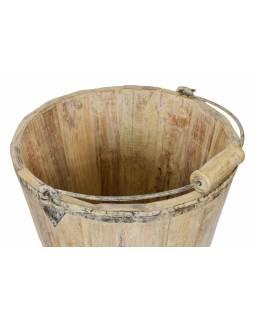 Dřevěné vědro z teakového dřeva, zahradní dekorace, 33x33x44cm