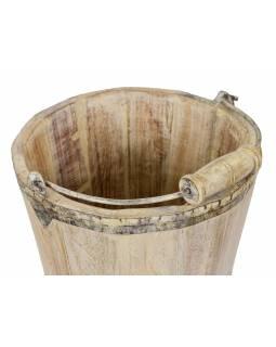 Dřevěné vědro z teakového dřeva, zahradní dekorace, 25x25x33cm