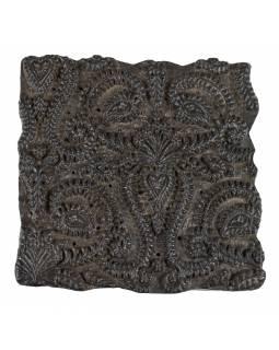 Staré razítko na textil vyřezané z mangového dřeva, květinový motiv, 15x15x7cm