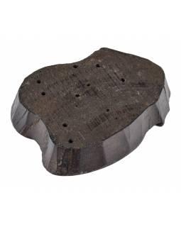 Staré razítko na textil z mangového dřeva, ÓM, 14x18x4cm