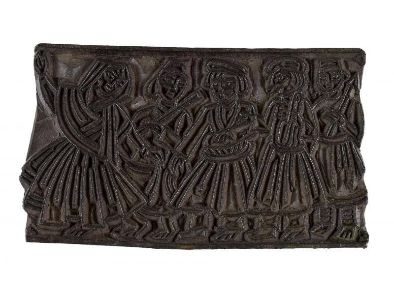 Staré razítko na textil z mangového dřeva, hudebníci, 15x9x3cm