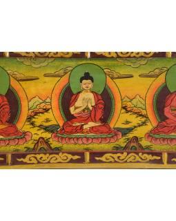 Dřevěný panel, Pět Dhjáni Buddhů, ručně malované, 123x32x2cm