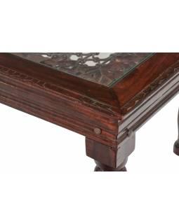 Konferenční stolek z palisandrového dřeva, kovová mříž, sklo, 60x60x42cm